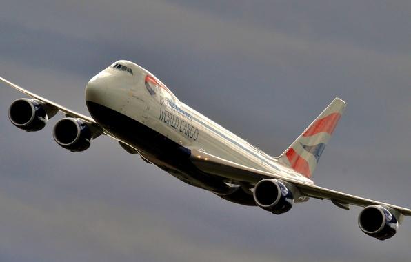 Картинка небо, самолёт, пассажирский, широкофюзеляжный, двухпалубный, Boeing 747 87UF