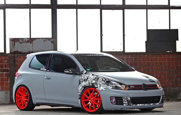 Картинка Volkswagen, Машина, Серый, Машины, Car, Автомобиль, Cars, Golf, GTI, Grey, Автомобили, Фольксваген, Матовый, CFC, Гольф
