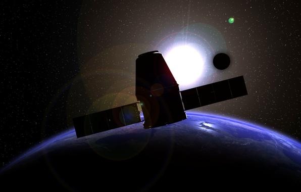 Картинка Земля, космический корабль, транспортный, частный, Dragon SpaceX