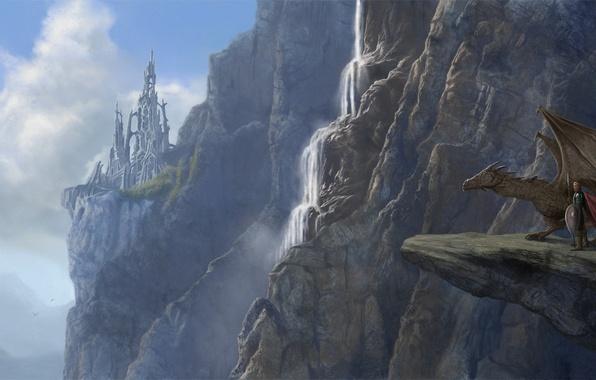 Картинка горы, скала, замок, обрыв, дракон, человек, водопад, фэнтези, арт, руины