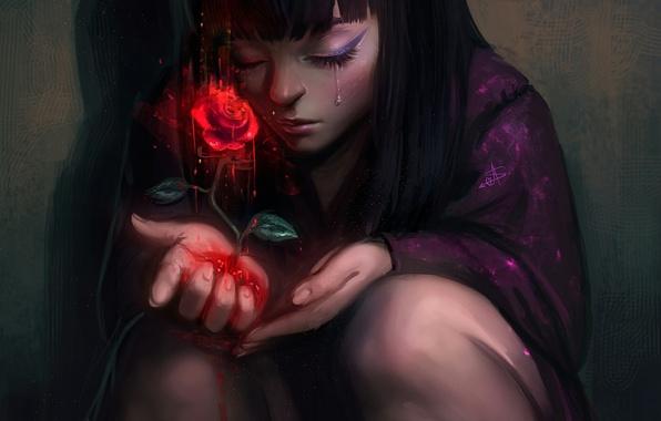 Картинка роза, девочка, красная, слёзы, art, AyyaSap