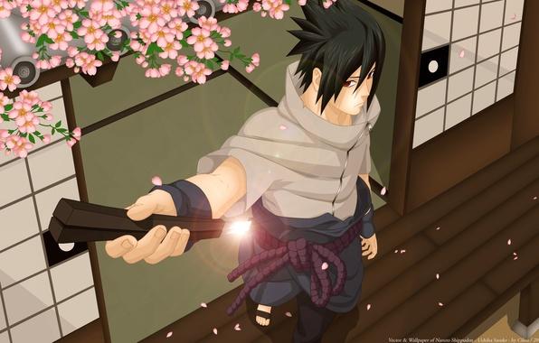 Картинка меч, катана, сакура, арт, парень, naruto, uchiha sasuke, luffy-san92