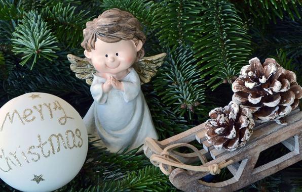 Картинка ветки, праздник, игрушки, шар, рождество, ель, ангел, санки, шишки, фигурка, ангелочек