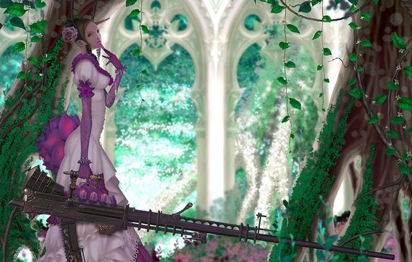 Картинка девушка, деревья, оружие, роза, платье, арт, арки, винтовка, плющ, wen-m