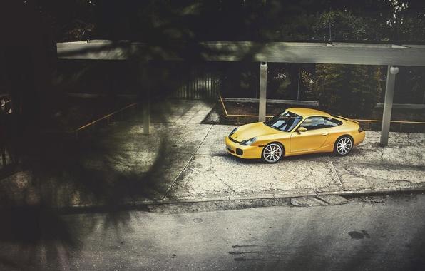 Картинка Porsche, Порше, Carrera, Yellow, 996, Wildness