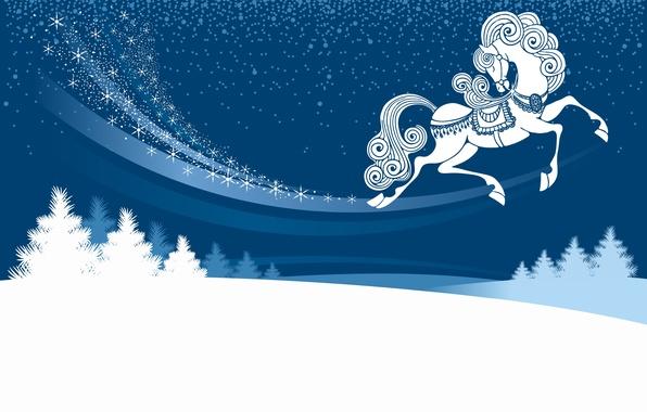 Картинка зима, снег, ночь, сугроб, символ года, лошадка, ёлочки