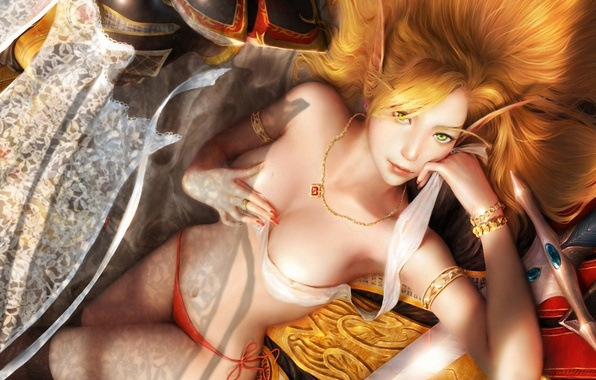 Картинка белье, меч, арт, кулон, занавески, эльфийка, цепочка, wow, world of warcraft, лежа, blood elf, свиток, …