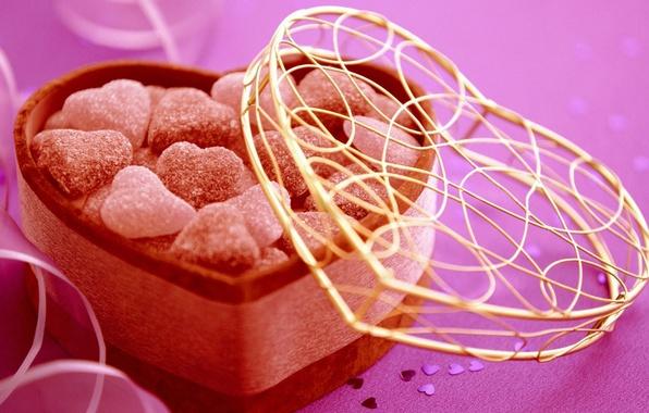 Картинка праздник, подарок, сердце, конфеты, сердечки, сладости, Candy, Валентинка, День Святого Валентина, gift, holiday, sweets, Valentines …