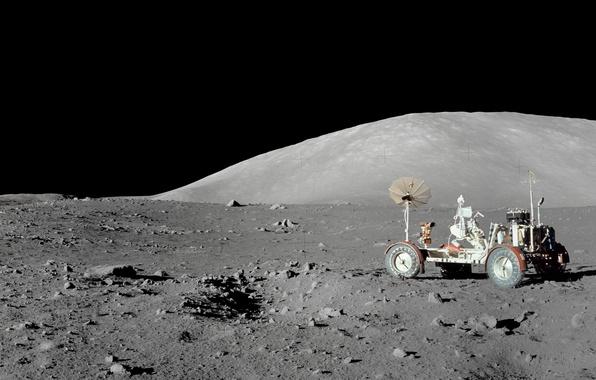 Картинка космос, луна, космонавт