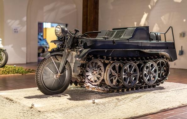 Картинка Германия, музей, Вторая мировая война, экспонат, Kettenkrad HK 101, SdKfz 2, полугусеничный мотоцикл