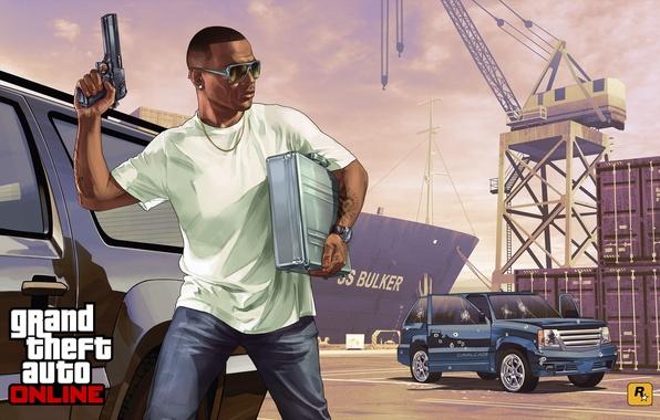 Картинка машина, мужик, порт, Grand Theft Auto V, gta online