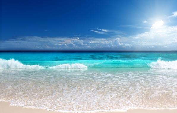 Картинка песок, море, пляж, солнце, sunshine, beach, sea, ocean, blue, emerald
