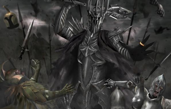 Картинка армия, властелин колец, кольцо, арт, битва, булава, доспех, the lord of the rings, sauron, саурон