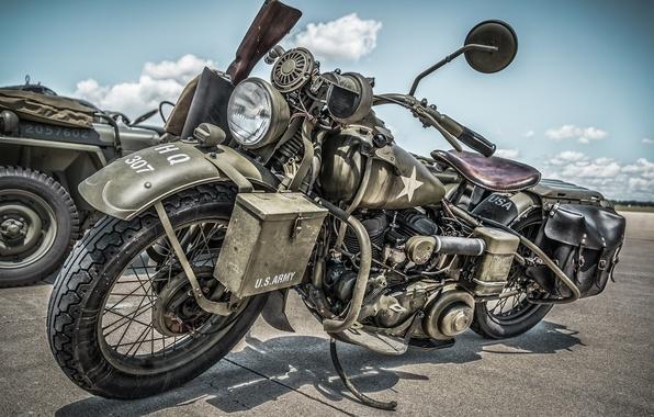 Картинка мотоцикл, военный, Harley-Davidson, 1945, WLA