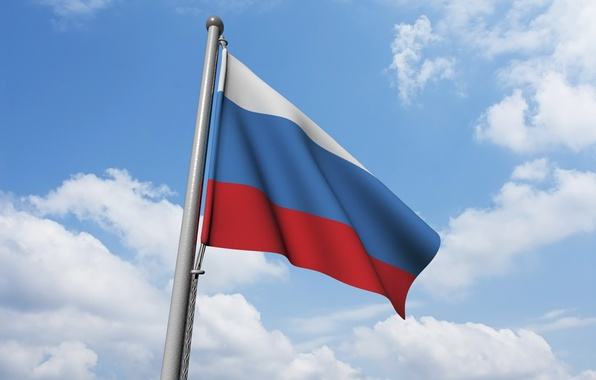 Картинка небо, фон, ветер, флаг, Россия, Russia, sky, background, flag, wind, Russian flag, флаг России