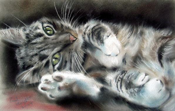 Картинка кот, усы, взгляд, животное, лапки, мордочка, уши, живопись, зеленые глаза