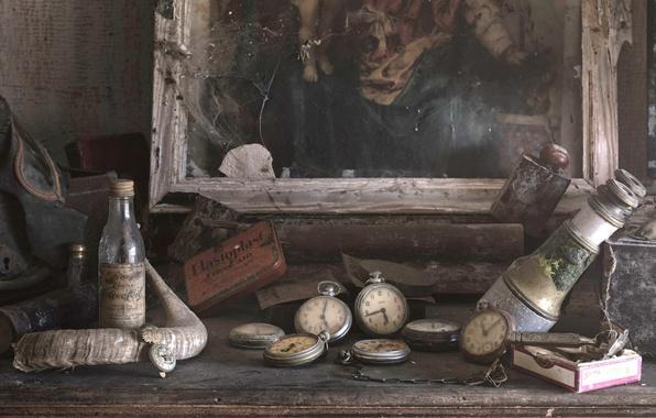 Картинка фон, часы, картина