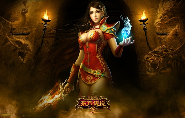 Картинка девушка, тигр, туман, оружие, пламя, магия, дракон, тунель, Perfect World