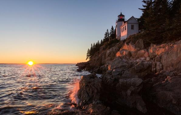 Картинка волны, закат, скалы, берег, маяк, США, Bass Harbor Head Light, Бас-Харбор Головного Света, штат Мейн, ...