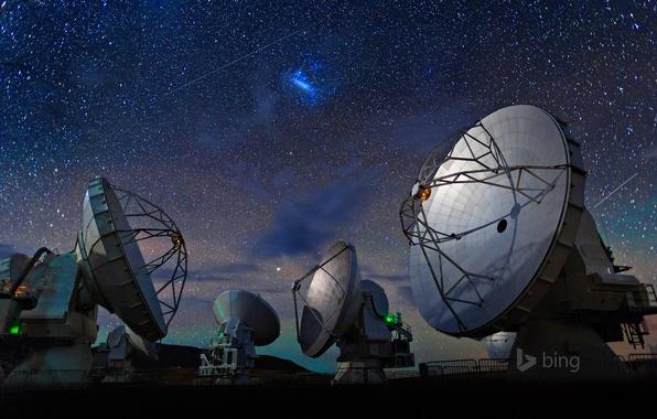 Картинка небо, звезды, Чили, радиотелескоп, пустыня Атакама