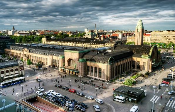 Картинка небо, облака, улица, вокзал, дома, панорама, квартал, Финляндия, Хельсинки