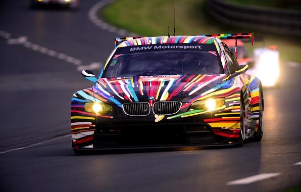 Картинка Вечер, Авто, BMW, Спорт, Машина, Бумер, Фары, Трасса, GT2, Передок, 24h Le Mans