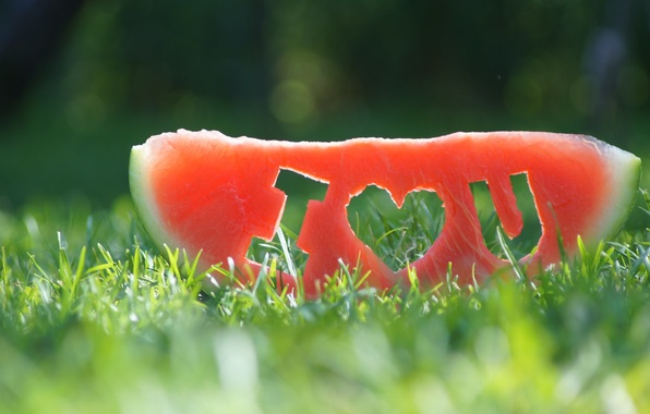 Картинка трава, арбуз, долька, i love you