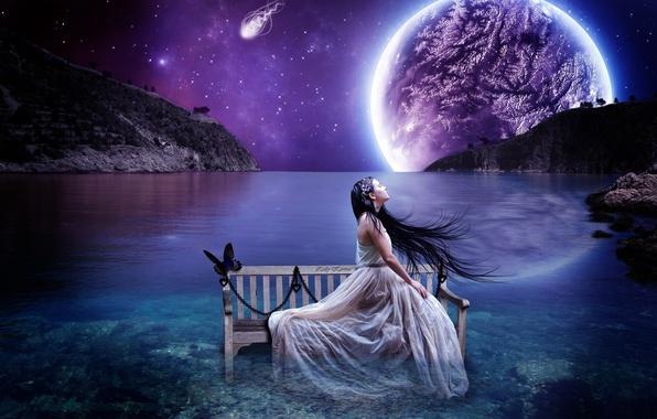Картинка небо, девушка, пейзаж, скамейка, бабочка, планета, звёзды, брюнетка, горизонт, лавочка, цепь
