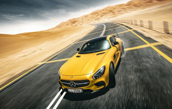 Картинка Mercedes-Benz, Front, AMG, Yellow, Road, Supercar, Desert, Drifting, GT S