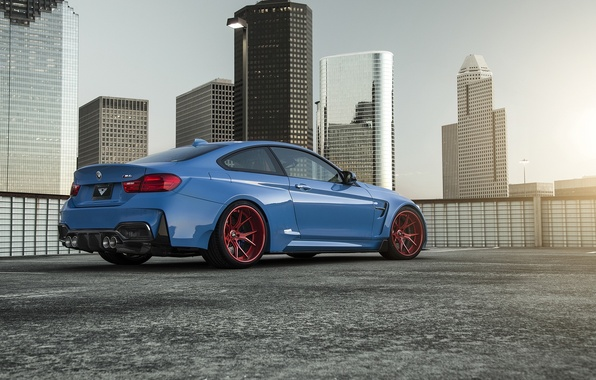Картинка BMW, Blue, Vorsteiner, Sun, Widebody, Rear, Photoshoot, GTRS4
