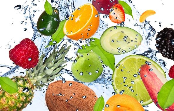 Картинка вода, капли, брызги, свежесть, малина, лимон, apple, яблоко, кокос, клубника, лайм, lemon, фрукты, ананас, банан, …