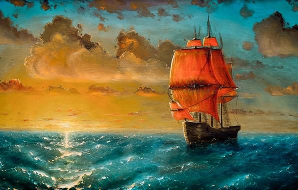 Картинка море, волны, облака, закат, корабль, парусник, арт