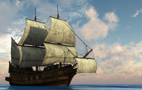 Картинка свобода, океан, Корабль, паруса, мачты