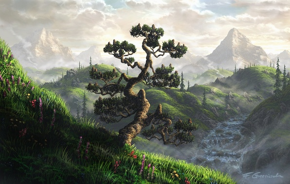Картинка вода, облака, пейзаж, цветы, горы, туман, дом, река, дерево, водопад, арт, Fel-X, кривое