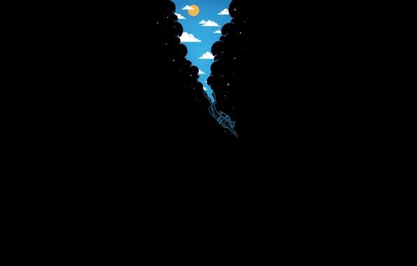Картинка небо, солнце, облака, темнота, водолаз, глубина, звёзды, просвет, погружение