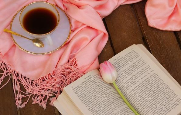 Картинка цветок, розовый, тюльпан, кофе, шарф, натюрморт, flower, pink, cup, tulips, still life, book, drink, coffee, …