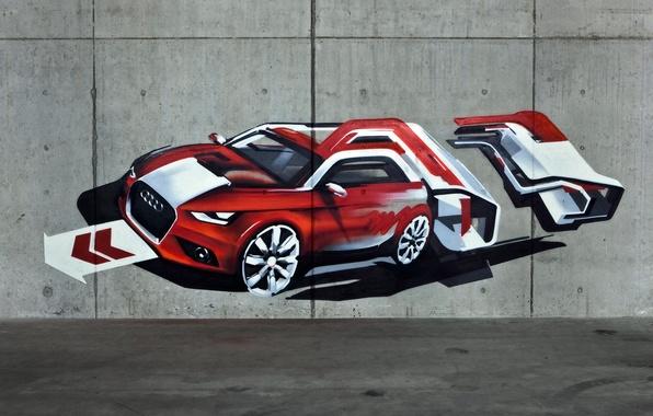 Картинка машина, стена, audi, граффити, рисунок, wall, graffiti, texture