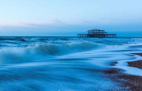 Картинка море, небо, вода, пейзаж, природа, река, фон, widescreen, обои, волна, wallpaper, sea, ocean, blue, широкоформатные, …