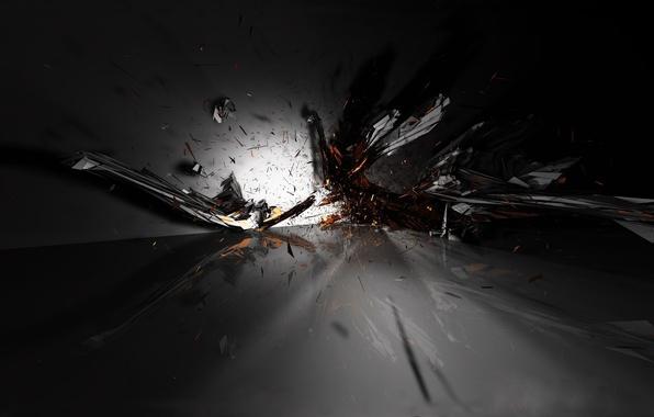 Картинка взрыв, осколки, черный