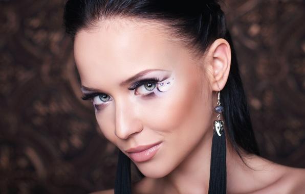 Картинка взгляд, украшения, лицо, модель, портрет, макияж, брюнетка, прическа, красотка, боке, крупным планом, Angelina Petrova, Ангелина …