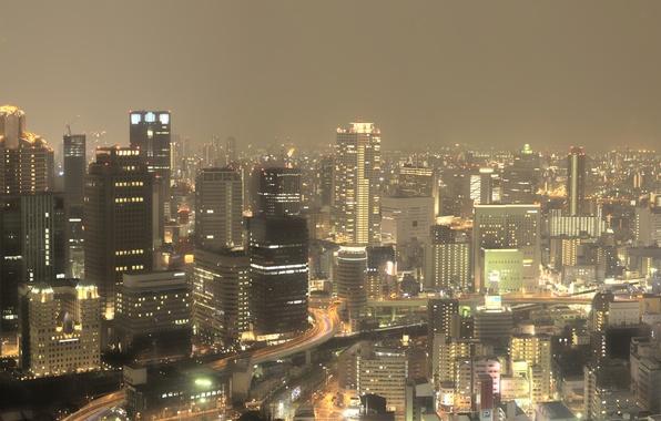 Картинка Небо, Дорога, Огни, Ночь, Город, Япония, Панорама, Движение, Небоскребы, Japan, Wallpapers, Multi Monitors, Osaka, Осака