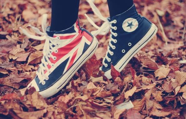 Картинка осень, листья, природа, движение, ситуации, листва, спорт, обувь, кеды, ситуация, флаг, опавшие листья, на носочках, …