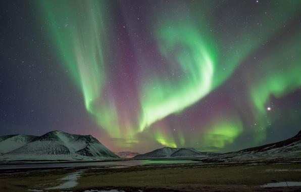 Картинка звезды, горы, ночь, весна, северное сияние, Исландия, Март, By Conor MacNeill, Snæfellsnes Peninsula