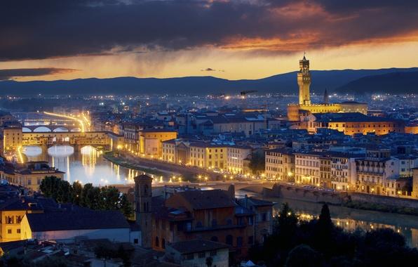 Картинка ночь, город, огни, италия, флоренция, italy, палаццо веккьо, florence, palazzo vecchio