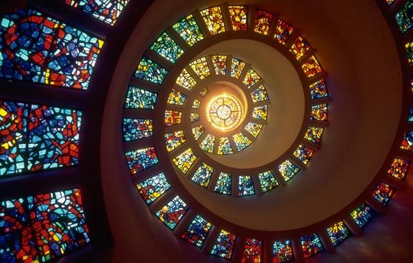 Картинка свет, окна, спираль, витражи