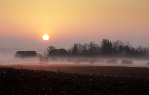 Картинка поле, пейзаж, закат, туман, дома