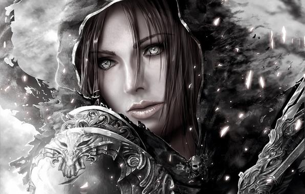 Картинка девушка, арт, капюшон, черно-белое, diablo 3, demon hunter, монохромное