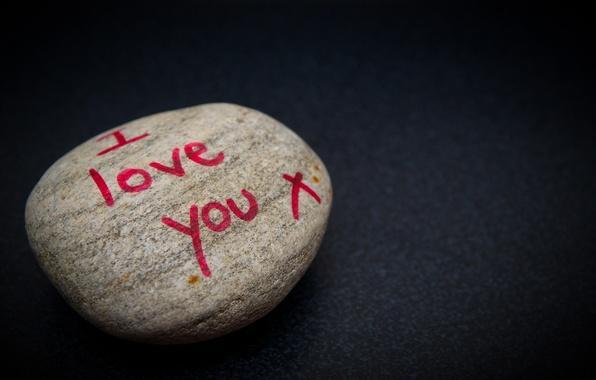 Картинка фон, надпись, камень, признание, i love you
