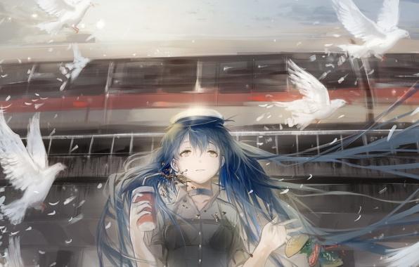 Картинка девушка, птицы, аниме, арт, напиток, vocaloid, hatsune miku, sayuki