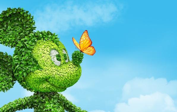 Картинка небо, глаза, листья, облака, бабочка, куст, нос, уши, Mickey Mouse, Микки маус
